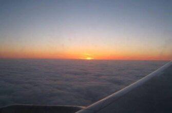 крыло самолета и закат