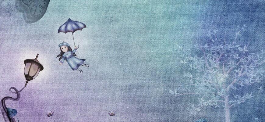 девочка с зонтиком летит